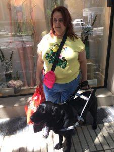 Salvi y Goleta en un escaparate con bolsas de la compra